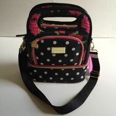 """NWT BETSEY JOHNSON INSULATED LUNCH TOTE BETSEY JOHNSON LUNCH TOTE (check out my other lunch tote too) Brand new with tags, priced at lowest  - Zips Across the Top - Dual Top Handles - Insulated Interior For Cold Items - Measures 12""""x9""""x5""""  - Attachable Shoulder Strap - Front Zippered Pouch - Bottom Insulated Zip Around For More Storage - Front has Betsey Johnson Emblem - 100% Authentic - Retail $58 Betsey Johnson Bags Totes"""