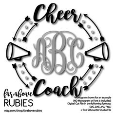 Cheerleader Cheer Megaphone Monogram Wreath Arrows (monogram NOT included) SVG, DXF, png, jpg digital cut file for Silhouette for Cricut Cheer Megaphone, Football Cheer, Cheer Camp, Cheer Coaches, Cheer Shirts, Cheerleading Shirts, Vinyl Shirts, Cheerleading Crafts, Cheerleading Stunting