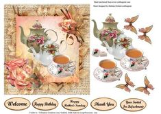 Join Me For A Cup Of Tea Card Topper Decoupage on Craftsuprint - Add To Basket!