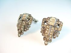 Small Art Deco Sterling Rhinestone Dress Clips by bohemiantrading, $75.00