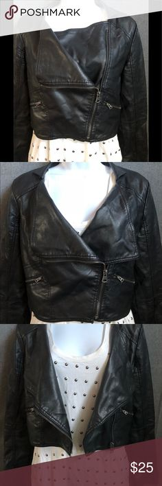 Faux leather jacket This faux leather jacket can become apart of your everyday essentials. It can be worn a few ways and is super classic in style. Pre-loved with lots of life left. Arden B Jackets & Coats