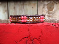 Double Row Single Wrap Bracelet with Swarovski Crystals