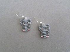 Beaded Elephant Earrings | Etsy Seed Bead Earrings, Etsy Earrings, Seed Beads, Crochet Earrings, Beaded Jewelry Patterns, Beading Patterns, Jean Crafts, Elephant Earrings, Beading Needles