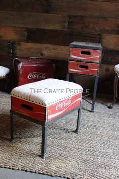Coca-Cola Wood Crate Footstool with Upholstered Antique Grain Sack Linen by TheCratePeople on Etsy https://www.etsy.com/listing/200376170/coca-cola-wood-crate-footstool-with