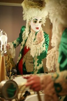 Prince Poppycock has the most deliciously elaborate costumes. Pantomime, Bambi, Pierrot Clown, Rococo Fashion, Drag King, Theatrical Makeup, Fantasy Costumes, Costume Makeup, Marie Antoinette