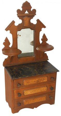 miniature child doll eastlake dresser antique salesman sample two tone furniture - Sample Furniture