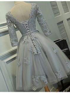 Gray Homecoming Dresses with Half Sleeves,Lace Appliqued Short Prom Dresses HC1768 - Thumbnail 1