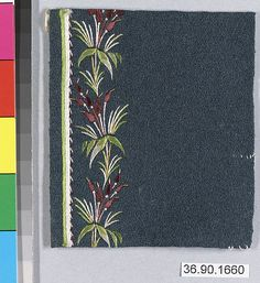 Sample Date: early 19th century Culture: French Medium: Silk on felt Dimensions: L. 3 3/4 x W. 3 1/4 inches 9.5 x 8.3 cm Classification: Textiles-Embroidered Credit Line: Gift of The United Piece Dye Works, 1936
