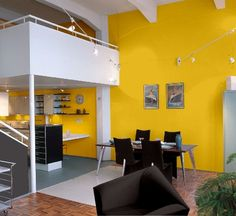 tikkurila n 300 Open Plan, House Colors, Conference Room, Loft, Interiors, Colorful, How To Plan, Interior Design, Yellow