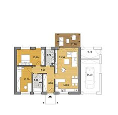 Elegant small bungalow based on rectangular floor plan.This 2 bedroom bungalow offers a total area of 85 3d House Plans, Two Story House Plans, Small House Floor Plans, Home Design Floor Plans, House Plan Creator, Floor Plan Creator, Best Interior Design Apps, Small Bungalow, Apartment Floor Plans