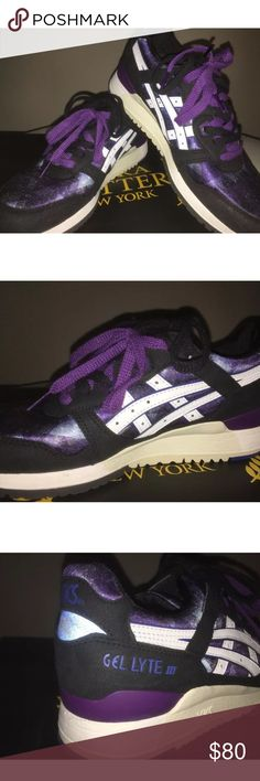 Asics gel lyte iii sneakers Brand new. Galaxy purple and blue design. Black and purple laces. Gel cushioning. Asics Shoes Sneakers