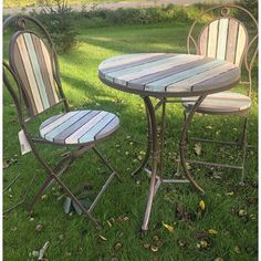 Take time to enjoy your coffee every morning with a colored set. This set will not only add functionality but charm to any setting. The chairs are designed to fold up for easy space-saving storage with a matching table. Wood Patio Furniture, Outdoor Furniture Sets, Outdoor Decor, Furniture Price, Outdoor Tables, Recycled Furniture, Outdoor Projects, Outdoor Ideas, Outdoor Dining