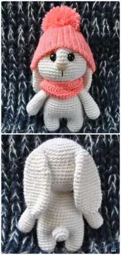 Crochet Amigurumi Bunny in Hat Free Patterns #Crochet