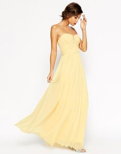 ASOS WEDDING Ruched Bodice Bandeau Maxi Dress