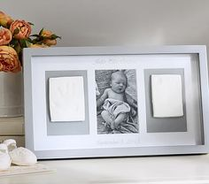 Our triptych lets parents create and display an impression of their child's exquisite hand and foot, along with a photo of baby, creating a keepsake that will be cherished for years.