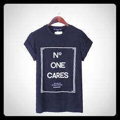 "⭐️Cute ""No One Cares"" BLACK t-shirt⭐️NEW  - ""No One Cares - Paris Couture"" BLACK T-SHIRT The Haute Holly-Would Hive LLC Tops Tees - Short Sleeve"
