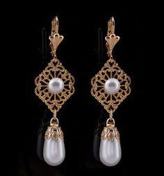 Gold filigree earrings, Pearl drop earrings gold, Bridal Earrings pearl, Gold plated earrings, Art deco earrings