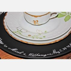 personalize each place setting with chalkboard chargers.