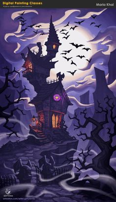 coursework from Environment Concept Art Creation course © smirnovschool Halloween Painting, Halloween Drawings, Halloween Tattoo, Halloween Pictures, Casa Halloween, Halloween Haunted Houses, Halloween Themes, Vintage Halloween, Halloween Wallpaper Iphone
