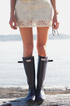 wellies and lace. we'd be friends.