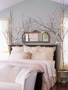 bedroom decorated with branches