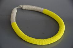 Finally! Miyuki 11/0 rocaille 20 round, neon yellow and plated silver glass seed bead crochet rope necklace - by Katrine Mosegaard