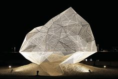 An ethereal polyhedron of white, stainless steel mesh provides a temporary play space for visitors to the art-world pilgrimage site Naoshima Island — Sou Fujimoto | Naoshima Pavilion — sou-fujimoto.net | #architecture #CAB #ChicagoArchitectureBiennial