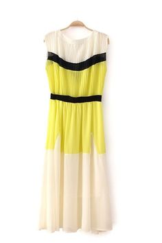 White Chiffon Dress With Yellow Color Block