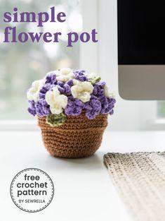 Crochet Pattern – Beautiful Flower Pot Amigurumi – PATTERN pdf – Tutorial – Mother's Day – Sewrella Crochet Flower Tutorial, Crochet Flower Patterns, Crochet Flowers, Crochet Vase, Crochet Leaves, Crochet Gratis, Free Crochet, Simple Crochet, Double Crochet