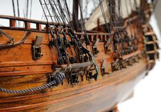 Fairfax Wooden Tall Ship Model – Famous Last Words Brass Statues, Wooden Cabins, Metal Lanterns, Western Red Cedar, Navy Ships, Boat Building, Building Plans, Boat Plans, Model Ships