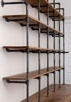 Book Shelves DIY - The Hemingway Wall Mount Bookcase Reclaimed Wood Bookshelf Pi. Book Shelves DIY – The Hemingway Wall Mount Bookcase Reclaimed Wood Bookshelf Pipe Wall Bookshelf