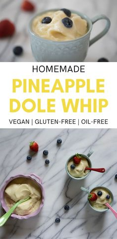Welcome summer with homemade Dole Pineapple Whip! This Disney pineapple whip copycat recipe is naturally sweet and refined sugar-free. Vegan Baking Recipes, Healthy Dessert Recipes, Snack Recipes, Snacks, Dole Pineapple Whip, Strawberry Dessert Recipes, Fruit Cobbler, Vegan Dishes, Vegan Food