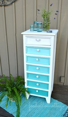 DIY home crafts DIY Aqua Ombre Painted Furniture Makeover DIY home crafts Furniture Projects, Furniture Makeover, Home Projects, Diy Furniture, Furniture Design, Vintage Furniture, Bedroom Furniture, Furniture Stores, Furniture Online