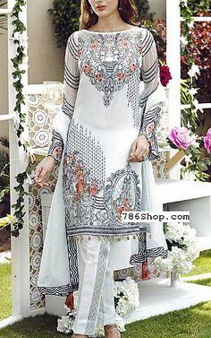 White Chiffon Suit | Buy Jazmin Pakistani Dresses and Clothing online in USA, UK
