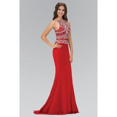 Elizabeth K GL1362P High Neck Jeweled Bodice Floor Length Prom Dress... ($258) ❤ liked on Polyvore featuring dresses, gowns, see through prom dress, sheer gown, see through dress, two piece prom dresses and red gown