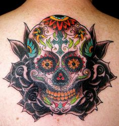 Colorful Sugar Skull Tattoo | Tattoos Photo Gallery
