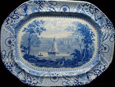 """Elkins & Co. (1822-1830) 21 inch platter from the """"Irish Scenery"""" series. The pattern shows Cobham Hall, Kent!"""