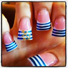 Sailor nails, not so wide at the top So Nails, Duck Nails, Feet Nails, How To Do Nails, Pretty Nails, Sailor Nails, Wedding Acrylic Nails, Nautical Nails, Plain Nails