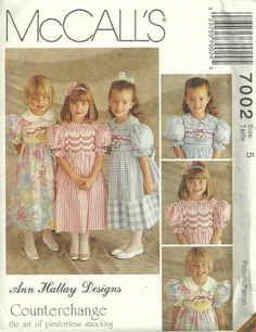 """7002 Sewing Pattern Vintage McCall's Girls """"Ann Hallay"""" Dress Pleaterless Smocking 5 click picture to enlarge click picture to enlarge click picture to enlarge Thank you for coming in! Please look aro Mccalls Patterns, Vintage Sewing Patterns, Knitting Patterns, Little Dresses, Flower Girl Dresses, Vintage Girls Dresses, Retro, Vintage Children, Special Occasion Dresses"""