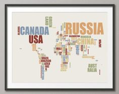 World map metro style maps pinterest metro style cartography typographic text map of the world map art print 891 gumiabroncs Choice Image