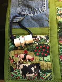 Sewing Gadgets A very fun farm fidget quilt with lots of things to do! It has a barn made of red corduroy Alzheimers Activities, Sensory Blanket, Fidget Blankets, Fidget Quilt, Barnyard Animals, Crochet Hook Set, Old Watches, Lap Quilts, Down On The Farm