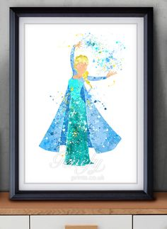 Disney Frozen Elsa Watercolor Painting Art Poster Print Wall Decor   https://www.etsy.com/shop/genefyprints