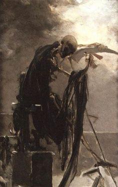 "Etymology: from Latin mortiferus, ""death-bearing"", equivalent to morti- (stem of mors), ""death"" + -ferus, ""bearing"". [Maximilian Pirner - Allegory of Death] Macabre Art, Danse Macabre, Arte Horror, Horror Art, Arte Dark Souls, Bild Tattoos, Arte Obscura, Creepy Art, Skull Art"