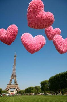 Valentine Balloons over Paris