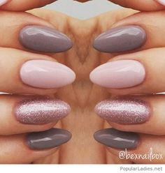 Grey and pink manicure with glitter