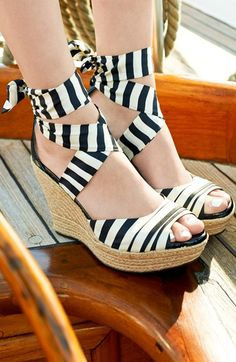 striped strappy wedges