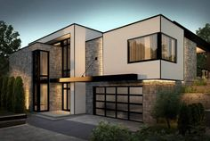 Modern Exterior Homes. The exterior of a modern home will usually have clean lines, with a simple footprint. From the street these homes can appear box-like in form, so often different materials are used to break up the exterior visually. Modern Exterior, Exterior Design, Exterior Homes, Exterior Windows, Future House, My House, Contemporary Garage Doors, Modern Garage, Modern Contemporary