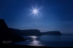 Moonlight on Waterstein Bay - Bay on left side at Neist Point on the Isle of Skye in Scotland.