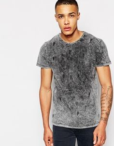 Enlarge New Look T-Shirt in Acid Wash with Lightening Bolt Embroidery