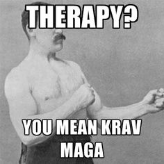 Therapy? You mean Krav Maga!  Mada Krav Maga in Shelby Township, MI teaches realistic hand to hand combat that uses the quickest methods to attack the weakest and most vital targets of both armed and unarmed assailants! Visit our website www.madakravmaga.com or call (586) 745-1171 for more details!